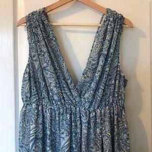 H&M blue paisley floor length Grecian style dress